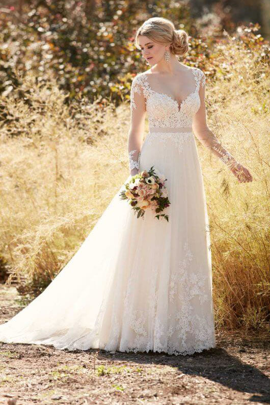 Princess Illusion Lace with Tulle Skirt Long Sleeves Sweetheart Appliques Wedding Dress PM228