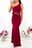 Simple Mermaid One Shoulder Floor Length Satin Red Prom Dresses, Long Party Dresses P1557