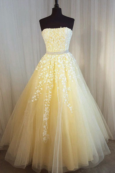 A Line Yellow Strapless Tulle Lace Appliques Prom Dresses, Party Dresses P1475