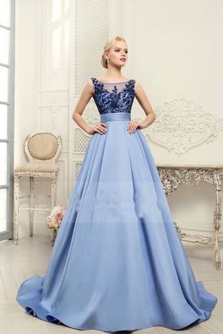 2018 Scoop Blue A-Line Appliques Satin Backless Sleeveless Quinceanera Dress,Prom Dresses UK PH456