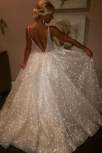 Sequins V-Neck White Backless A-Line Sleeveless Elegant Plus Size Prom Dresses uk PH381