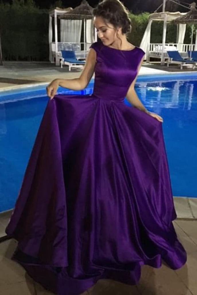 Charming Purple Backless Cap Sleeve Ball Gown Scoop Long Lace up Formal Dresses uk PM880