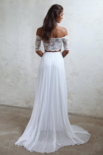A-Line Long Lace Ivory Chiffon Off the Shoulder Short Sleeve Two Pieces Wedding Dresses UK PH383