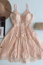 A-Line Spaghetti Straps Short Champagne Tulle Homecoming Dress with Appliques PM297