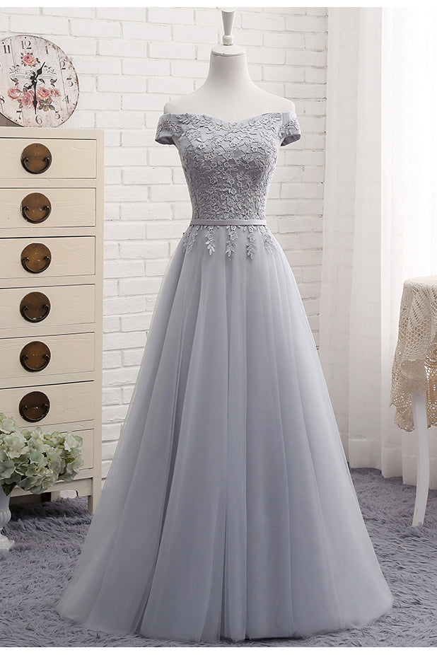 Cute A-Line Gray Lace Off the Shoulder Tulle Lace-up Appliques Sweetheart Prom Dresses PM133