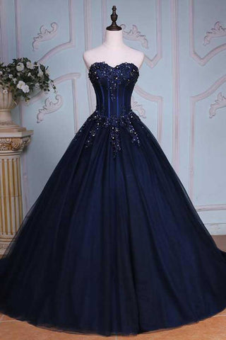 Princess Ball Gown Sweetheart Navy Blue Beads Ruffles Long Tulle Prom Dresses uk with Lace up PH236