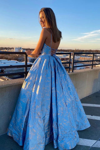 A Line Spaghetti Straps Blue Lace V Neck Prom Dresses with Lace up, Long Dance Dresses P1385