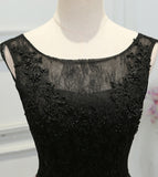 Chic A-Line Scoop Satin Black Lace up Sleeveless Long Flowers Prom Dresses uk PM622