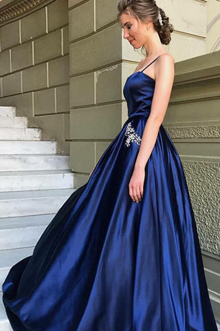 Elegant A-Line Spaghetti Straps Dark Blue Satin Prom Dress with Beading Pockets PH436