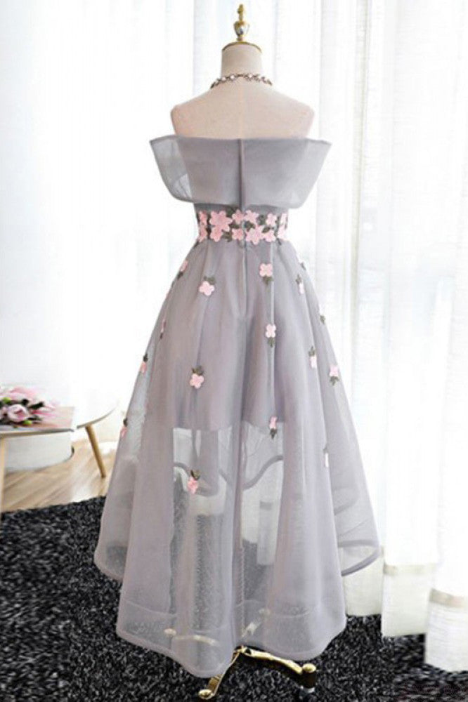 A Line Off Shoulder Grey High Low Homecoming Dress Graduation ...