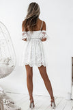 A-Line Spaghetti Straps Short White Lace Sleeveless Homecoming Dress with Ruffles PM298