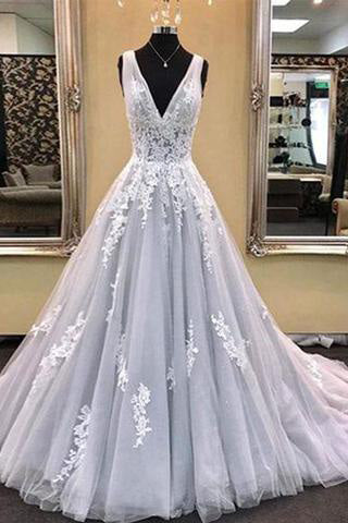 Gray V-Neck Tulle Lace Appliques Sleeveless A-Line Lace-up Long Prom Dresses uk PM790