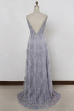 Sheath Spaghetti Straps Sweep Train Backless Lavender Tulle with Appliques Prom Dresses uk