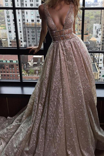A-Line Deep V-Neck Court Train Open Back Champagne Sequined Prom Dress with Beading PM82