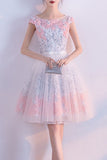 Cute A line Short Appliques Tulle Lace Round neck Knee length Pink Homecoming Dress PM187