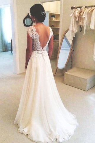 A-line Round Neckline Chiffon Lace Long Open Back Sleeves Wedding Dress