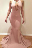 Mermaid Scoop Neck Sweep Train Jersey with Ruffles V-Neck Sleeveless Prom Dresses uk PM624