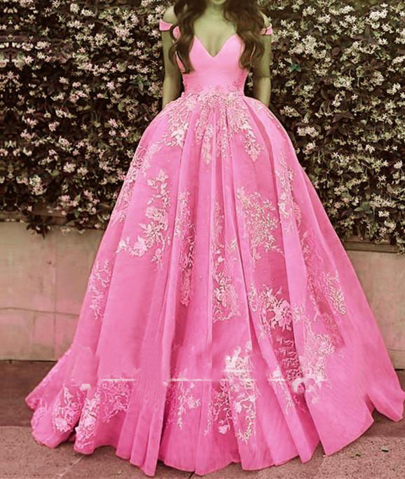 Wonderful Off-the-shoulder Ball Gown Formal Blue Lace Appliques Long Quinceanera Dresses PM119