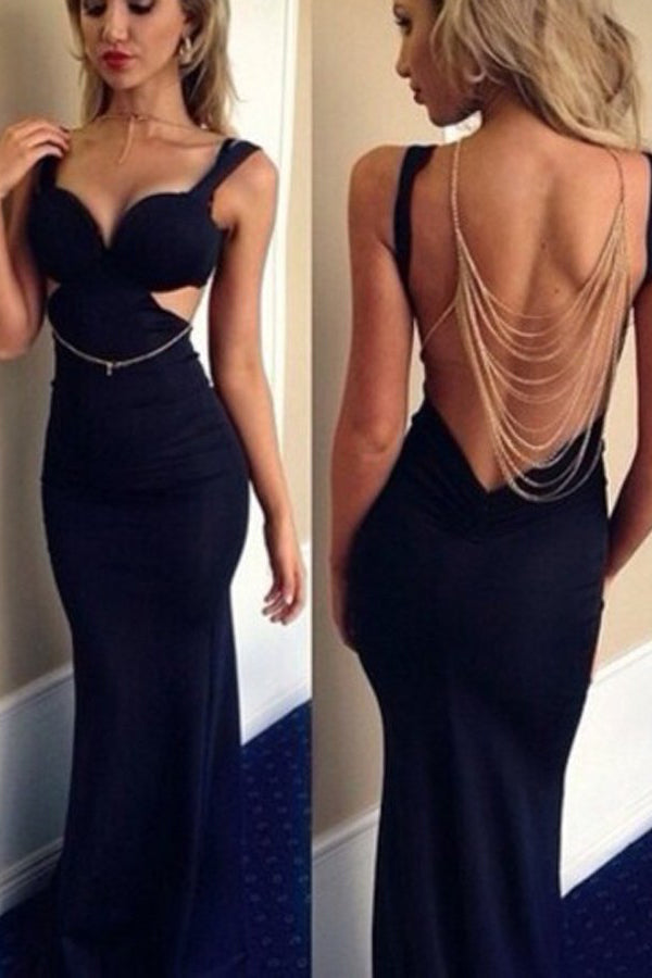 Mermaid V-Neck Floor-Length Backless Spandex Sleeveless Navy Blue Prom Dresses uk PM614
