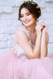 New Arrival Princess Scoop Neck Tulle with Appliques Lace Floor-length Pink Prom Dresses uk PM630