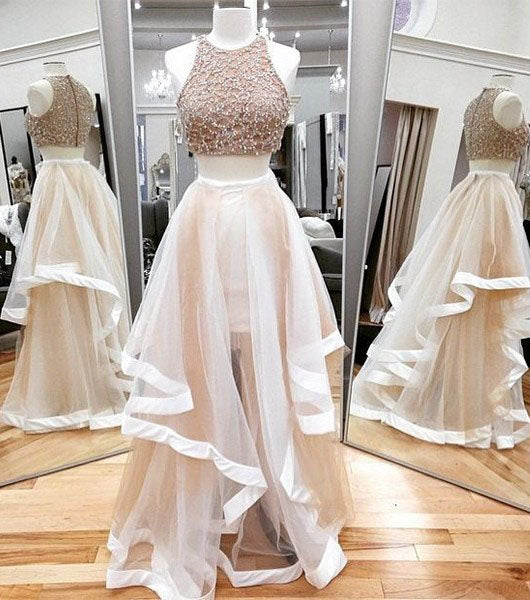 Sexy A-line Scoop Neck Tulle Beading Two Piece Halter Sleeveless Pink Prom Dresses uk PM635