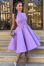 A-Line High Neck Tea-Length Sleeveless Purple Satin Homecoming Dress with Appliques PM119