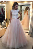 A-Line Light Pink Tulle with White Lace Appliqued Open Back Floor-Length Prom Dresses uk