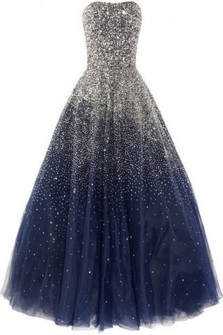 Ball Gown Beads Corset Back Tulle Long Navy Blue Sweetheart Floor-length Prom Dresses uk PM212