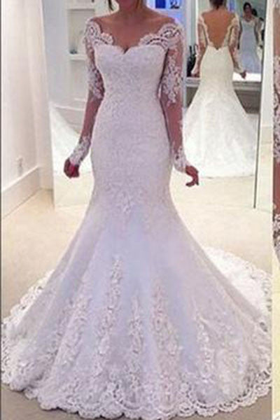 Long Sleeves Mermaid Lace Off-the-Shoulder Long Wedding Dress BA37