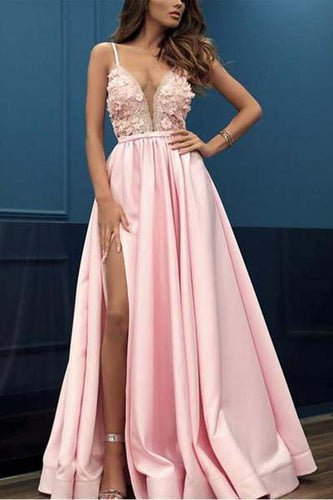 A Line Pink V Neck Sleeveless Spaghetti Straps High Slit Prom Dresses With Appliques PW366