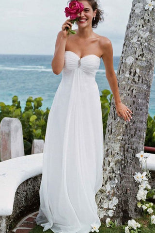 Elegant A-Line Sweetheart White Strapless Chiffon Beach Wedding Dress with Beads PH784