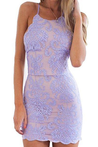 Sexy Sheath Lace Appliques Purple Criss Cross Scoop Above Knee Homecoming Dresses uk PH956