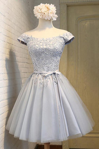 A-Line Off the Shoulder Short Sleeveless Scoop Grey Tulle Lace up Homecoming Dresses uk PH964