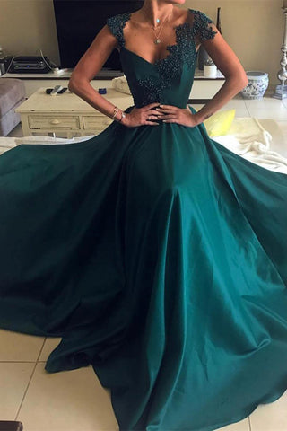 Elegant Beaded Peacock Green V Neck Long Satin Open Back Prom Dresses uk PW98