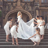 Unique Mermaid Off the Shoulder Ivory Lace Sweetheart Bridesmaid Dresses with Slit BD1039