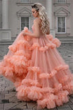 Gorgeous Ball Gown Spaghetti Straps Tulle Ruffles V Neck Prom Dresses with Sequins P1401
