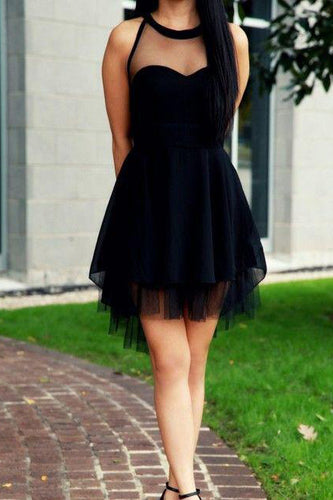 2018 Cute Little Black High Neck Tulle Tea Length Sleeveless Short Prom/Homecoming Dress PH504