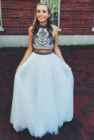 Embroidery Two Piece White Prom Dresses,Two Pieces Pageant Gowns PH551
