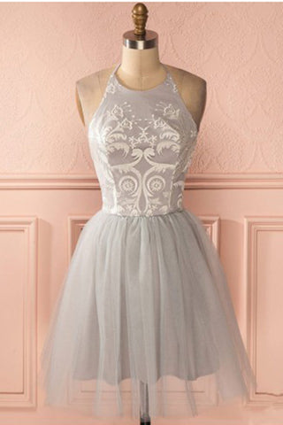 Cheap Sleeves Silver Distinct Halter Short A-line Princess Pleated Backless Homecoming Dresses PH789