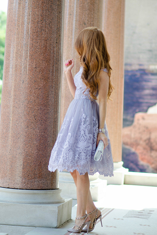 Knee Length Cap Sleeves A-Line Princess Short Lace Junior Homecoming Dress PM128