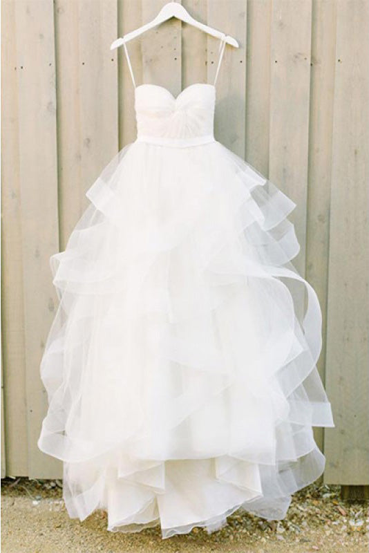 Sweetheart White Layers Long Ball Gown Spaghetti Strap Tulle Floor-length Wedding Dress PM215