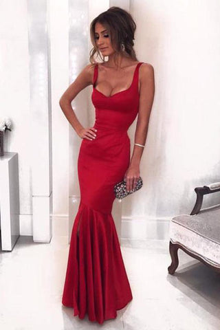 Sexy Low Neck Dark V-Neck Backless Red Satin Mermaid Long Custom Prom Dresses UK PH434