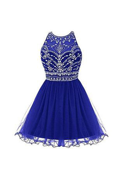 Royal Bule Tulle Homecoming Dresses, Short Bateau Prom Dresses