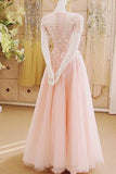 Charming A-Line Appliques Tulle Sexy Long Pink Floor-Length Prom Dresses uk PM289