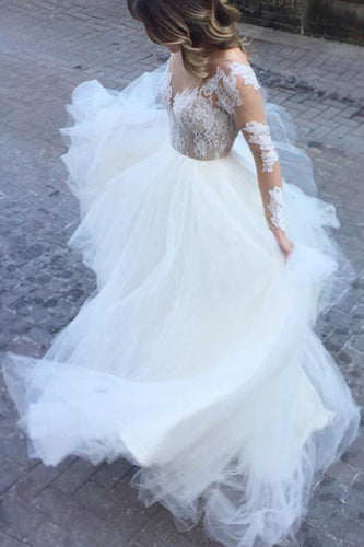 White Excellent Tulle Bateau Neckline Long Sleeves A-line Appliques Wedding Dresses PH615