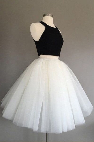 White and Black Two Pieces Tulle Cute Tutu Party Dresses Homecoming Dress PM91
