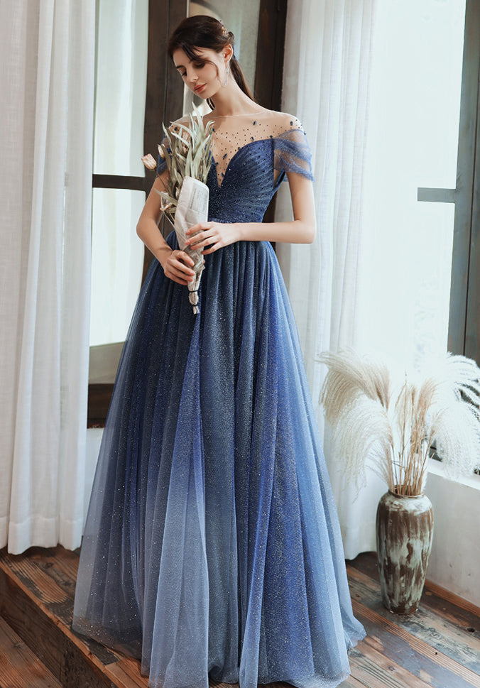 Charming A Line Blue Ombre Tulle Prom Dresses with Open Back, Evening Dresses P1448