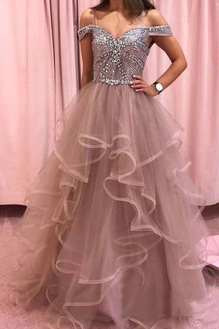 Elegant Rhinestones Layered Off the Shoulder Prom Dresses, Rose Pink Tulle Party Dresses P1365