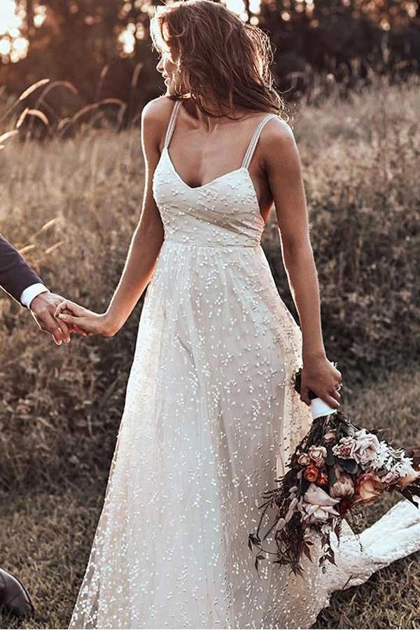 Rustic A Line Lace Backless Spaghetti Straps Wedding Dresses, V Neck Bridal Dress W1241
