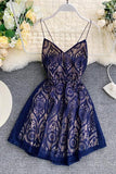A Line Spaghetti Straps Lace V Neck Navy Blue Homecoming Dresses, Sweet 16 Dresses H1350